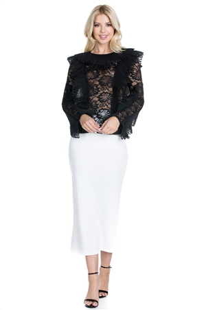Wholesale Clothing Women's Plus Size Floral Lace Mock Neck Ruffled Long Sleeves Top -RA-006-B