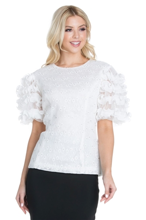Wholesale Clothing Plus Size Women's Floral Lace Ruffled Short Sleeves Round Neck Top -RA-007-B