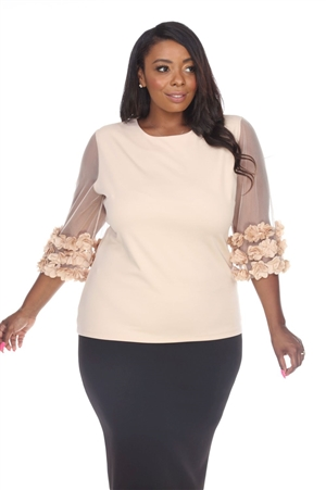Wholesale Clothing Plus Size Women's Stylish Mesh and Floral Ruffled Sleeves Top -RA-009-B