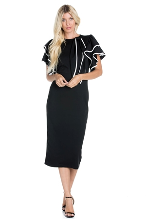 Wholesale Clothing Plus Size Women's Stylish Ruffled Neoprene Scuba Bodycon Dress with White Black Contrast and Bow -RA-010-B