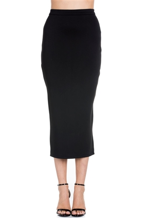 Wholesale Clothing Women's Plus Size Neoprene Scuba Midi Skirt -RA-011-B