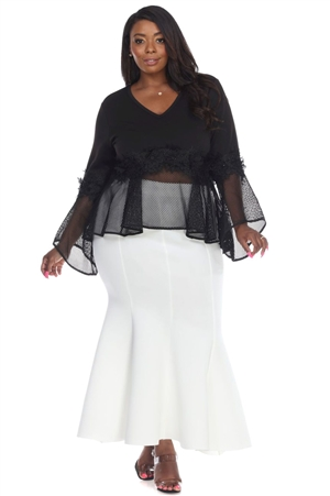 Wholesale Clothing Women's Plus Size Neoprene Scuba Mermaid Maxi Skirt -RA-012-B