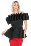 Wholesale Clothing Women's Ruffled Peplum Neoprene Scuba Strapless Top -RA-014-A