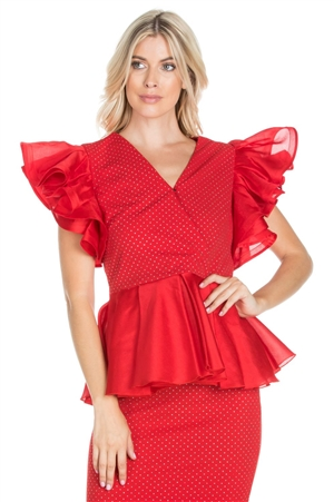 Wholesale Clothing Women's Stylish Ruffled Sleeve V Neck Peplum Top -RA-017-A