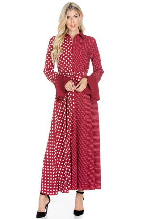 Wholesale Clothing Women's Polka Dot Print Flared Long Sleeve Bow Tie Maxi Shirt Dress -RA-021-A