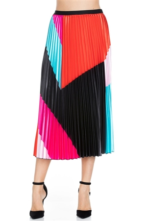 Wholesale Clothing Women's Multi Color Pleated Maxi Skirt -RA-022-A