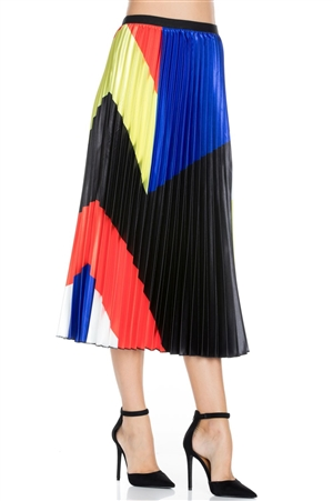 Wholesale Clothing Plus Size Women's Multi Color Pleated Maxi Skirt -RA-022-B