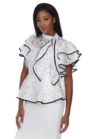 Wholesale Clothing Plus Size Women's Floral Lace Ruffled Sleeve Bow Tie Trim Peplum Top -RA-028-B