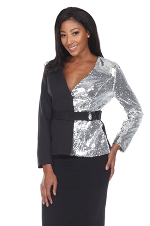 Wholesale Clothing Women's Silver Sequin Two tone Blazer Jacket -RA-030-A