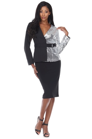 Wholesale Clothing Plus Size Women's Silver Sequin Two tone Blazer Jacket -RA-030-B