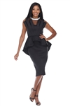 Wholesale Clothing Plus Size Women's Elegant Rhinestone Mock Neck Neoprene Peplum Dress  -RA-032-B