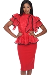 Wholesale Clothing Women's Floral Lace Ruffled Sleeve Bow Tie Trim Peplum Top -RA-033-A