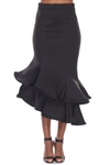 Wholesale Clothing Women's Ruffled Flared Scuba Maxi Mermaid Skirt -RA-034-A