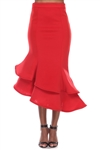 Wholesale Clothing Plus Size Women's Ruffled Flared Scuba Maxi Mermaid Skirt -RA-034-B