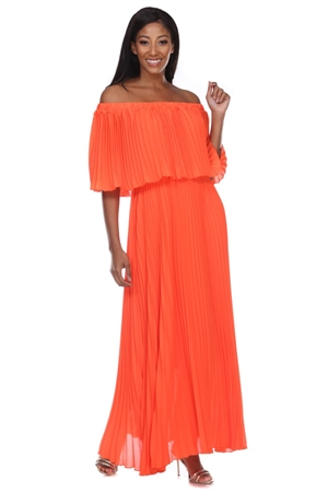 Wholesale Clothing Women's Pleated Tiered Ruffled Maxi Dress  -RA-035-A