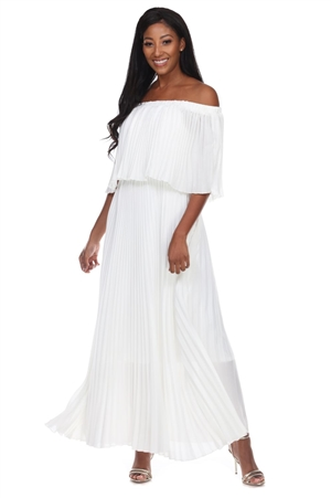 Wholesale Clothing Plus Size Women's Pleated Tiered Ruffled Maxi Dress  -RA-035-B