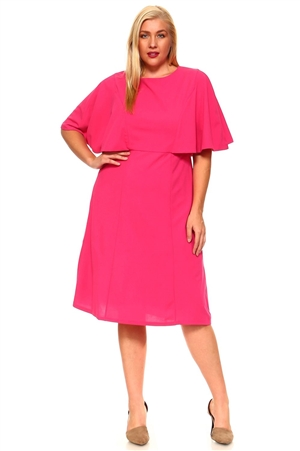 Women's Elegant Cape Dress Knee Length Fully Lined