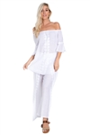 Wholesale Clothing Women's Plus Size Crochet Trim Layered Flowy Wide Pant and Top Set -SET-NC-1079-NC-1078-B