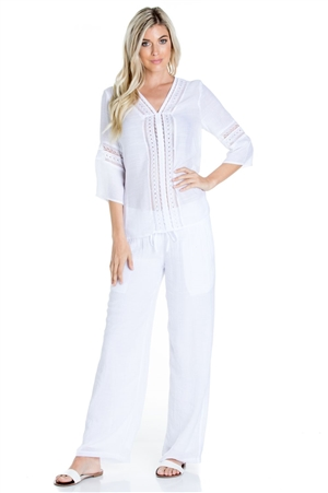 Wholesale Clothing Women's Resort Wear 2PC Set Crochet Trim 3/4 Sleeve V Neck Tunic Top and Pant -SET-NC-1101-NC-5183-A