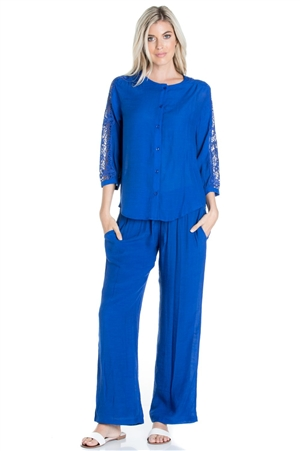 Wholesale Clothing Women's Resort Wear 2PC Set Crochet Trim 3/4 Sleeve Button Down Top and Pant -SET-NC-1103-NC-5183-A
