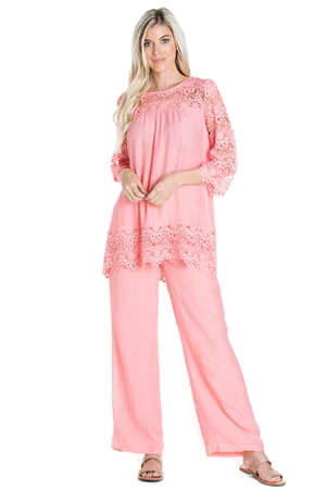 Wholesale Clothing Women's Resort Wear 2PC Set Crochet Lace Trim 3/4 Sleeve Tunic Top and Pant -SET-NC-1104-NC-5183-A