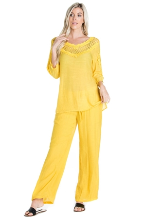 Wholesale Clothing Women's Resort Wear 2PC Set Crochet Trim 3/4 Sleeve  Scoop Neck Top and Pant -SET-NC-1106-NC-5183-A