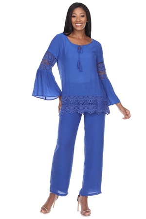 Wholesale Clothing Women's Resort Wear 2PC Set Crochet Trim Flared Bell Sleeve  Scoop Neck Top and Pant -SET-NC-1107-NC-5183-A