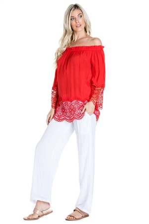 Wholesale Clothing Women's Resort Wear 2PC Set Crochet Trim Sleeve  Peasant Tunic Top and Pant -SET-NC-1109-NC-5183-A