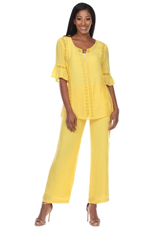 Wholesale Clothing Women's Resort Wear 2PC Set Crochet Trim ¾ Flared Sleeve Top and Pant -SET-NC-1110-NC-5183-A