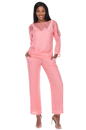 Wholesale Clothing Women's Resort Wear 2PC Set Crochet Trim 3/4 Sleeve Scoop Neck Top and Pant -SET-NC-1115-NC-5183-A