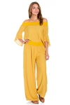 Wholesale Clothing Women's 3/4 Bell Sleeve Peasant Top and Palazzo Pant Set -SET-NC-5106-LAP-5105-A