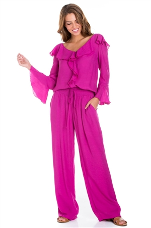 Wholesale Clothing Women's Ruffled Bell Sleeve V Neck Top and Palazzo Pant Set -SET-NC-5107-LAP-5183-A