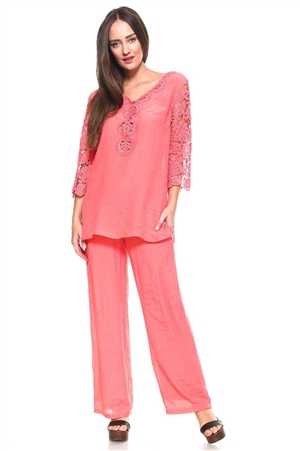 Wholesale Fashion Women's Stylish Crochet Accent Trimmed 3/4 Sleeve V Neck Top and Lounge Palazzo Pant Set -SETLAB-5300-LAP-5183