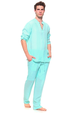 Wholesale Clothing Men's Resort Lounge Embroidery Accented Banded Neck Long Sleeve Shirt and Drawstring Pant Set -SETM-5260-M5208-A
