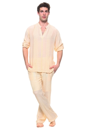 Wholesale Clothing Men's Resort Lounge Embroidery Accented Banded Neck Long Sleeve Shirt and Drawstring Pant Set -SETM-5260-M5208-B