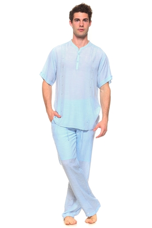 Wholesale Clothing Men's Resort Lounge Embroidery Accented Banded Neck Short Sleeve Shirt and Drawstring Pant Set -SETM-5261-M5208-A