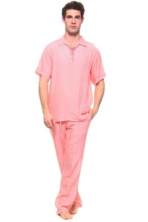 Wholesale Clothing Men's Resort Lounge Lace Up Collared Short Sleeve Shirt and Drawstring Pant Set -SETM-5264-M5208-A
