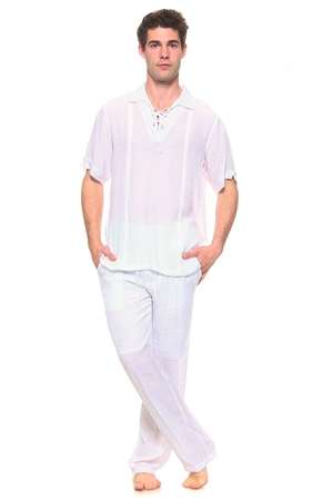 Wholesale Clothing Men's Resort Lounge Lace Up Collared Short Sleeve Shirt and Drawstring Pant Set -SETM-5264-M5208-B