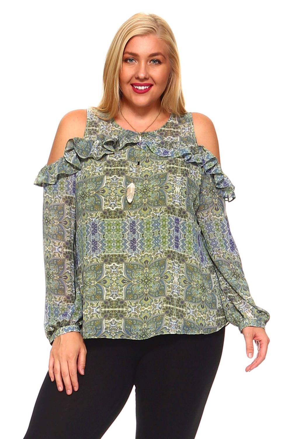 e9d4e987769dc3 Plus Size Women s Sexy Abstract Print Long Sleeve Cold Shoulder Ruffled Top