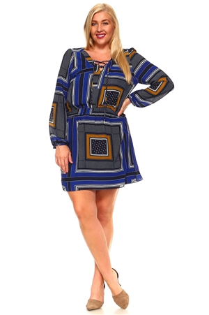 Women's Plus Size Geo Print Lace-Up Neckline Mid Length Drawstring Waist Dress