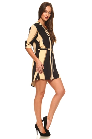 Women Stylish Stripe Print Mid Rise Long Sleeve Dress