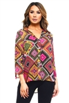 Wholesale Clothing Women's Geo Print 3/4 Roll Up Sleeve V Neck Button Down Hi-Lo Top -VB-3024-A