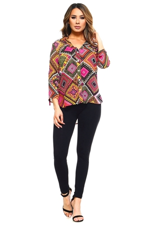 Wholesale Clothing Plus Size Women's Geo Print 3/4 Roll Up Sleeve V Neck Button Down Hi-Lo Top -VB-3024-B