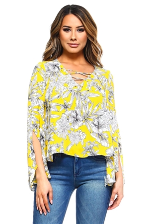 Wholesale Clothing Women's Floral Print Slit Bell Sleeve Caged Neckline V Neck Top -VB-3027-A