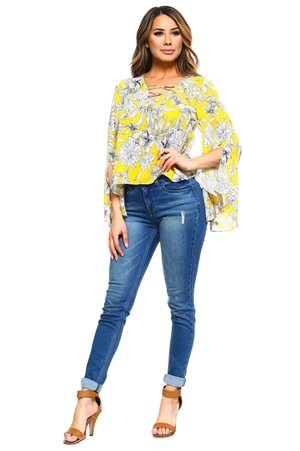 Wholesale Clothing Plus Size Women's Floral Print Slit Bell Sleeve Caged Neckline V Neck Top -VB-3027-B