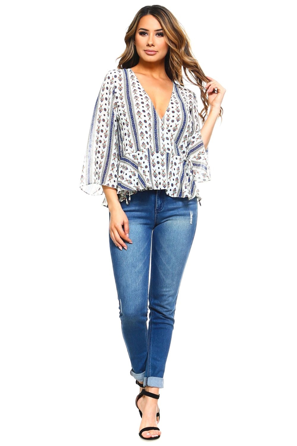 45f1899bd838ca Wholesale Women's Plus Size Abstract Print Bell Sleeve V Neck Peplum ...