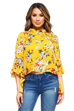 Wholesale Clothing Women's Floral Print Ruffled Bell Sleeve Top -VB-3030-A