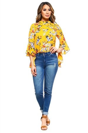 Wholesale Clothing Plus Size Women's Floral Print Ruffled Bell Sleeve Top -VB-3030-B