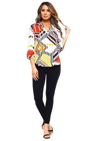 Wholesale Clothing Plus Size Women's Abstract Print 3/4 Sleeve  V Neck Top -VB-3031-B