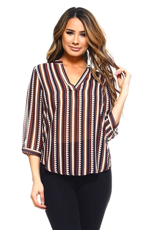 Wholesale Clothing Women's Stripe Print 3/4 Sleeve  V Neck Top -VB-3033-A